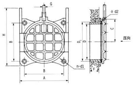 铸铁镶铜圆闸门结构图